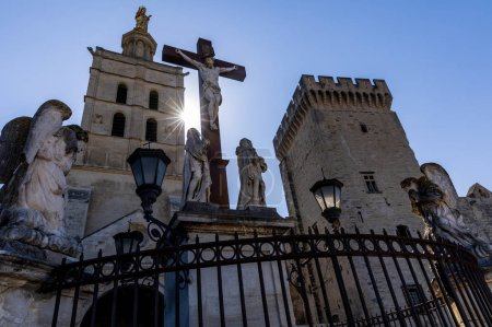 Photo for Low angle view of Christ Statue at Palais des Papes (papal palace), Avignon, France - Royalty Free Image