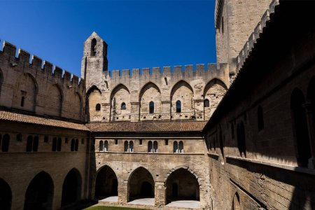 Photo for Ancient architecture of famous Palais des Papes (Papal palace) in Avignon, France - Royalty Free Image