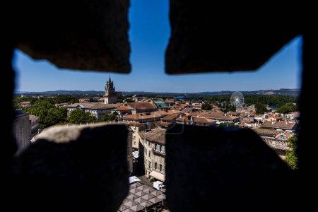 Photo pour Mise au point sélective d'architecture magnifique et panoramique cityscape Avignon, provence, france - image libre de droit