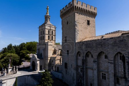Photo for Beautiful architecture of famous Palais des Papes (Papal palace) in Avignon, France - Royalty Free Image