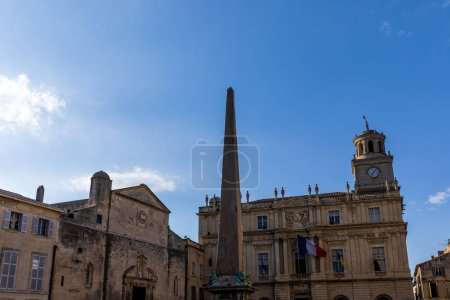 Photo for Arles town hall on Place de la Republique (Republic Square) and obelisk, France - Royalty Free Image