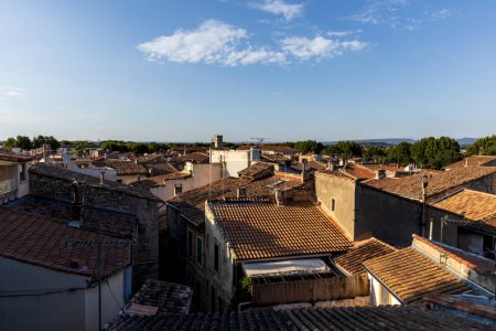 aerial view of rooftops and traditional houses in french town, provence