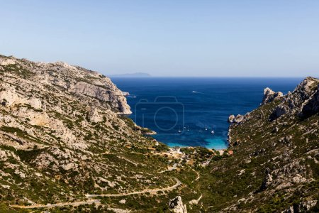 Photo for Beautiful rocky mountains and tranquil sea view in Calanques de Marseille (Massif des Calanques), provence, france - Royalty Free Image
