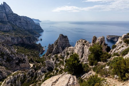 Photo for Aerial view of beautiful cliffs and calm sea in Calanques de Marseille (Massif des Calanques), provence, france - Royalty Free Image