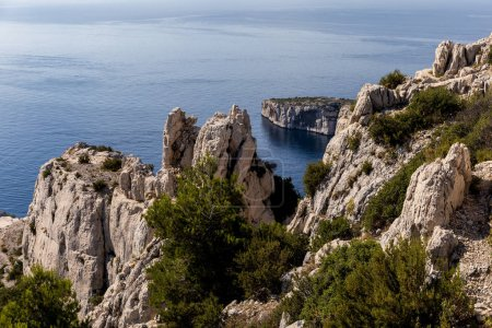 aerial view of high cliffs, green vegetation and calm sea in Calanques de Marseille (Massif des Calanques), provence, france