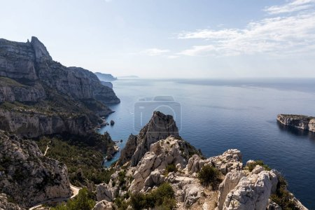 scenic landscape with beautiful calm sea and cliffs in Calanque de Sugiton, Marseille, France