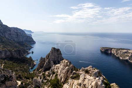 majestic landscape with calm sea and cliffs in Calanque de Sugiton, Marseille, France