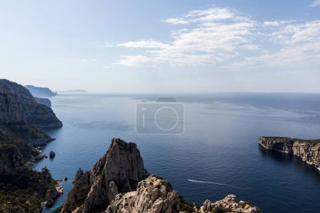 aerial view of scenic cliffs and majestic seascape in Calanques de Marseille (Massif des Calanques), provence, france