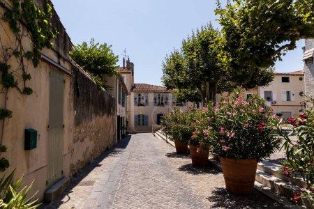Foto de Hermoso acogedor callejuela con casas tradicionales, árboles verdes y flores en macetas, Provenza, Francia - Imagen libre de derechos