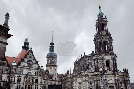 Photo for Exterior of old historical Cathedral of Holy Trinity with statues on roof in Dresden, Germany - Royalty Free Image