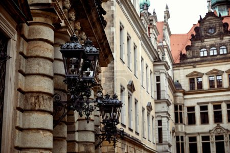 Photo for Black lanterns on old historical building in Dresden, Germany - Royalty Free Image