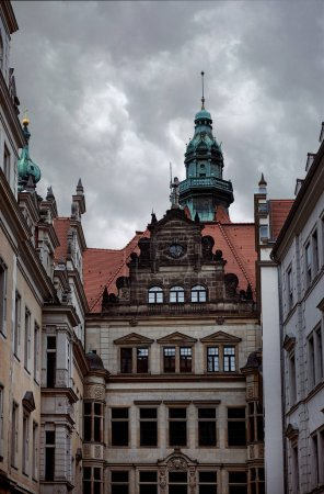 facade of old beautiful historical building in Dresden, Germany
