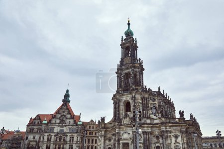 Photo for Old grey Cathedral of Holy Trinity against stormy sky in Dresden, Germany - Royalty Free Image