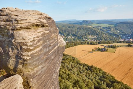beautiful landscape with old rock and field in Bad Schandau, Germany