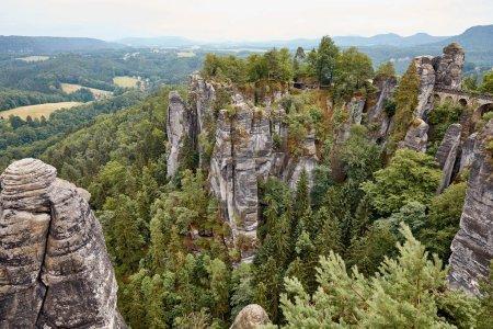 Photo pour Vue aérienne de belles vieilles roches et forêts à Bastei, Allemagne - image libre de droit