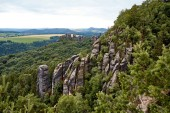 beautiful landscape with old rocks and forest in Bastei, Germany