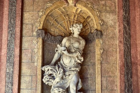Photo for CZECH REPUBLIC, PRAGUE - 26 JUNE 2018: marble female statue in old historical building - Royalty Free Image