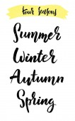 Four Seasons Vector lettering illustration with the names of the seasons Handdrawn style EPS 10