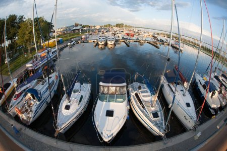 Photo for Panoramic view of docked yachts on port - Royalty Free Image