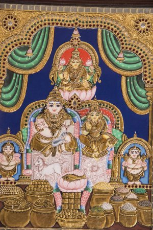 Tanjore Painting is one of the most popular forms of classical South Indian painting. Dense composition, surface richness and vibrant colors of Indian Thanjavur Paintings distinguish them from  other