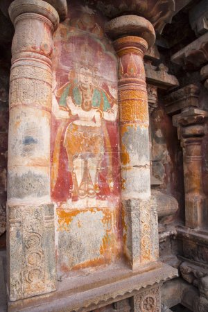 Photo for Mural Painting at entrance to the temple two Dwarapalakas, Sankhanidhi and Padmanidhi. Airavatesvara Temple, Darasuram, near Kumbakonam, Tamil Nadu - Royalty Free Image