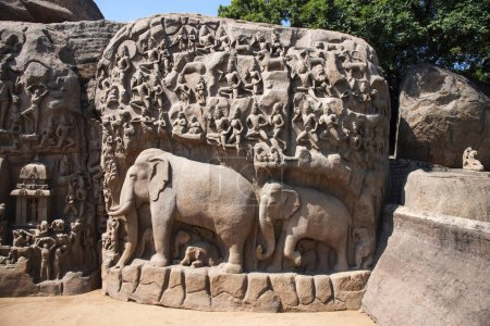 Photo for Partial view of the Descent of the Ganges, also known as Arjunas Penance, Mahabalipuram, Tamil Nadu. Gangavataran Shilpa  one of the largest rock reliefs in Asia and narrates several Hindu myths - Royalty Free Image