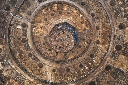 Ceiling of Chennakeshava temple, Belur, Karnataka, India. There is a prominent carving of Lord Vishnu as Narsimha in the centre.