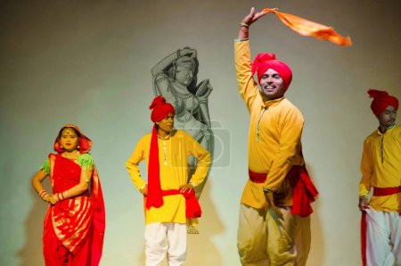 KHAJURAHO, MADHYA PRADESH, INDIA, October 2015, Dancers perform folk dance during folk dance show