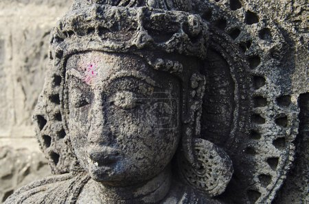 Carved idol of God, Bhuleshwar Temple, Pune, Maharashtra India