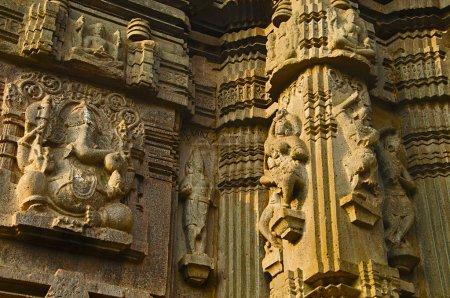 Carved idol of Lord Ganesha and Carvings, Kopeshwar Temple, Khidrapur, kolhapur, Maharashtra India