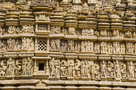 PARSVANATH TEMPLE, Wall sculptures - closeup, Eastern Group, Khajuraho, Madhya Pradesh, India, UNESCO World Heritage Site