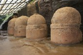 Votive stupas also called as memorial stupas on the way to cave No. 20, Bhaja caves, circa 150 B.C. Pune district, Maharashtra India.