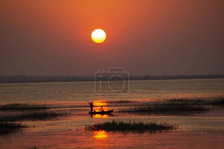 Photo for Sunset at Tadoba Andhari tiger reserve, Maharashtra, India - Royalty Free Image