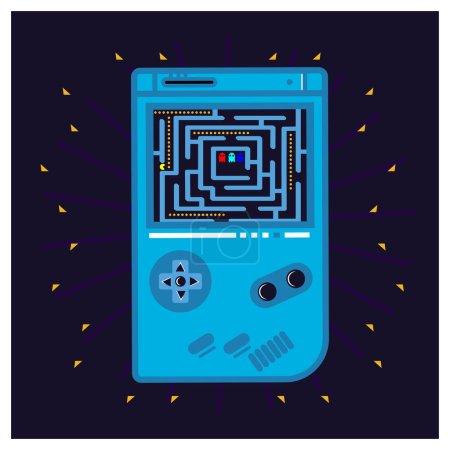Illustrationen, die Spiele auf tragbaren Geräten spielen, Vektorillustrationen