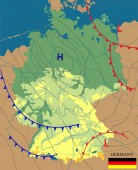Weather map of the Germany Topography map of the Germany Meteorological forecast Editable vector illustration of a generic weather map showing isobars and weather frontsTopography and physical map