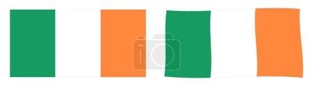 Bandera de la República de Irlanda. Versi simple y ligeramente ondulante