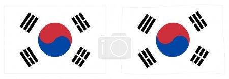 Bandera de Corea del Sur (Taegukgi). Versi simple y ligeramente ondulante