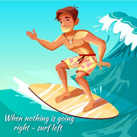 Illustration pour Illustration vectorielle garçon surfeur de jeune homme ou gars à la planche de surf sur la vague de l'océan pour affiche. Cartoon vacances d'été activité sportive et loisirs de la mer passe-temps - image libre de droit