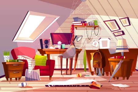 Illustration for Messy room interior vector illustration. Cartoon garret or attic flat in clutter. Girl bedroom or living room thins in chaos, dust on furniture and scattered clothes on chair and bed or web in corner - Royalty Free Image