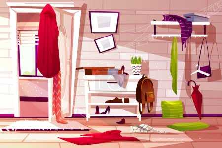 Illustration for Hallway room messy interior vector illustration of retro apartment corridor or store entrance clutter. Cartoon wardrobe with store compartments and clothing scattered on floor and dusty web on shelf - Royalty Free Image