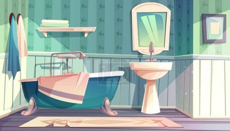 Illustration pour Intérieur salle de bain en illustration vectorielle vintage style Provence française. Dessin animé fond de mobilier rustique antique, baignoire et lavabo dosseret avec miroir et serviettes sur crochets - image libre de droit