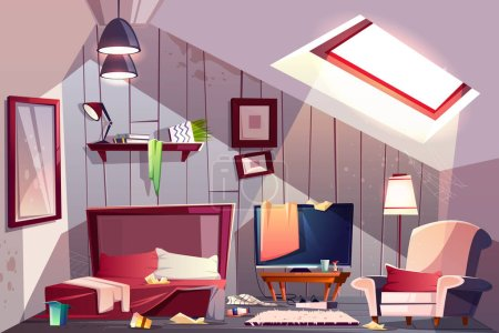 Illustration for Messy attic bedroom or guest room on garret interior with scattered clothes, stained walls and spider web in corners cartoon vector illustration. Bad household, cleaning at home, messy guests concept - Royalty Free Image
