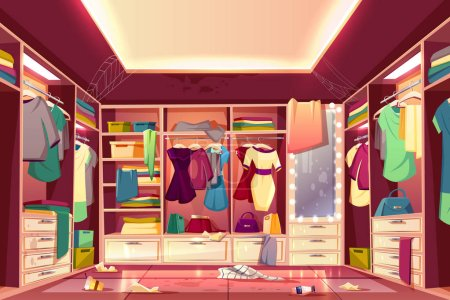 Illustration for Messy womans walk in closet, dressing room interior cartoon vector with scattered clothing, stained walls and furniture, dirty mirror, littered floor, spider web on ceiling. Careless housewife concept - Royalty Free Image