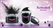 Face cream with activated charcoal vector banner