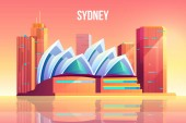 Sydney city with opera theater skyline Australia