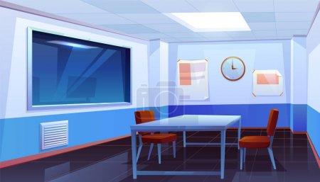 Illustration pour Salle d'interrogatoire dans le poste de police, intérieur vide pour interroger les crimes avec table, chaises, horloge sur le mur et une immense fenêtre en verre, lieu pour l'interview des personnes arrêtées. Illustration vectorielle de bande dessinée - image libre de droit