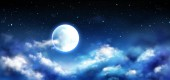 Full moon in night sky with stars and clouds scene