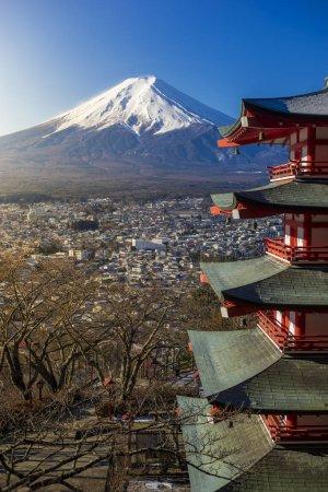 Mount Fuji and Chureito Pagoda at sunrise
