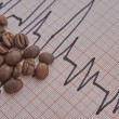 Loose roasted coffee beans on an ECG tracing showi...