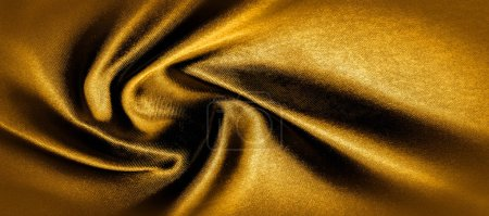 Photo pour Texture, fond, motif. tissu de soie jaune doré photo panoramique. C'est Caroline ensoleillée. C'est une main lisse qui crée un éclat subtil. Fabriqué en soie luxueuse, comme la beauté ! - image libre de droit